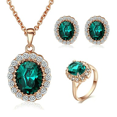 Pentru femei Set bijuterii - Cristal, Placat Auriu Modă Include Rosu / Verde Pentru Nuntă / Petrecere / Zilnic / Casual / Σκουλαρίκια