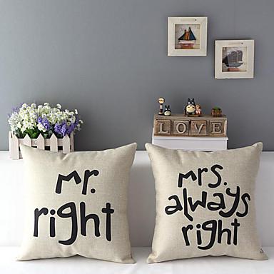 Square Cotton/Linen Text Pillow Cover With Zipper 45cm*45cm*2cm