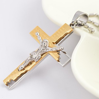 Men's Pendant Necklace - Gold Plated Cross Fashion Black, Silver, Golden Necklace For Daily, Casual