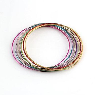Multi-circle  Combination Pattern Colorful Metallic Bracelet (12pcs)