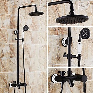 Shower Faucet Antique Oil Rubbed Bronze System Ceramic Valve Bath Mixer Taps Br Single Handle Three Holes