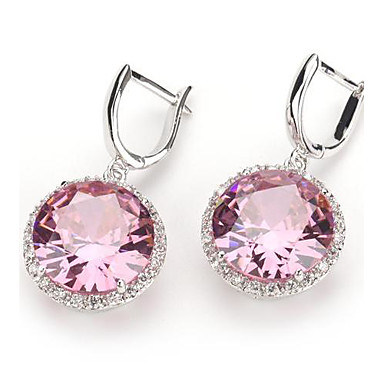 Drop Earrings Zircon Silver Plated Jewelry Pink Party Daily Casual Costume Jewelry