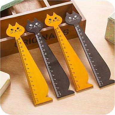 kočka tvar dřevěné pravítko (náhodné barvy)