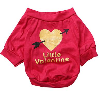 Koira T-paita Koiran vaatteet Sydän Ruusu Puuvilla Asu Lemmikit