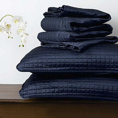 Huani® Quilt Set,3 Pieces Plaid Navy Polyester
