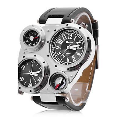 75e415639a51 Oulm Hombre Reloj Militar Reloj de Pulsera Cuarzo Cuarzo Japonés Dos Husos  Horarios PU Banda Negro