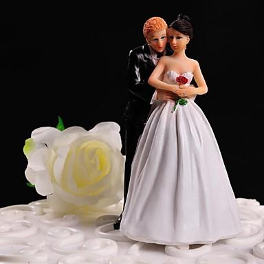 Figurky na svatební dort Nepřizpůsobeno Klasický pár Pryskyřice Svatba Květiny Bílá / Černá Květinový motiv / Klasický motivDárková