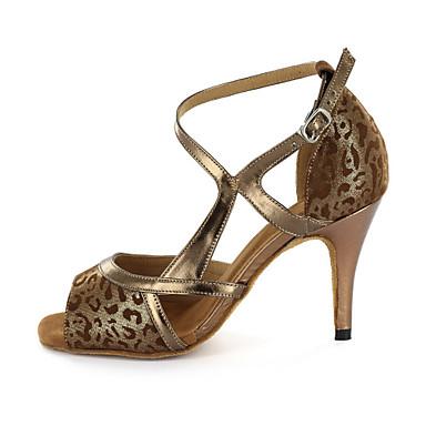 Pentru femei Latin Imitație de Piele Sandale Cataramă Toc Îndesat Maro Personalizabili