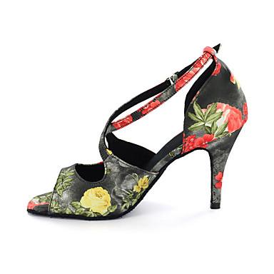 Dámské Boty na latinskoamerické tance Koženka Sandály Přezky Kačenka Obyčejné Taneční boty Vícebarevná / Levhart
