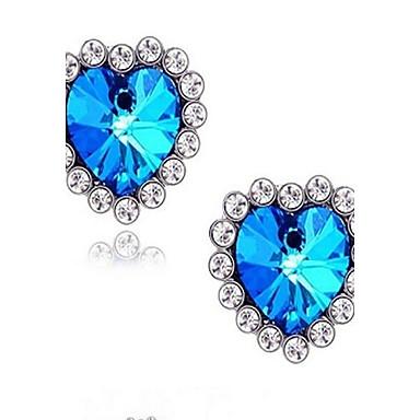 Sapphire sintetic Cercei Stud - Ștras, Diamante Artificiale Inimă, Iubire Lux, plaited Pentru Nuntă / Petrecere / Zilnic