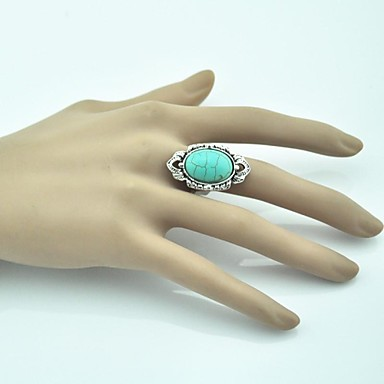 Women's Statement Ring Turquoise Alloy Adjustable Party Daily Costume Jewelry