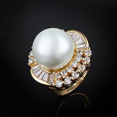 Prstýnky Pánské Imitace perly Mosaz Mosaz Viz fotografie Barva zdobení je zobrazena na obrázku.