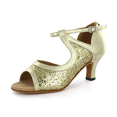 Women's Latin Leatherette Sandal Buckle Chunky Heel Silver Gold Customizable