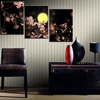 The Plum Blossom Under The Moon Clock in Canvas 3pcs