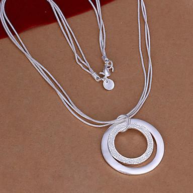vilin femei argint dublu cerc colier stil clasic feminin