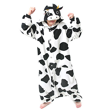 Kigurumi Pajamas Milk Cow Onesie Pajamas Costume Polar Fleece Cosplay For Adults' Animal Sleepwear Cartoon Halloween Festival / Holiday