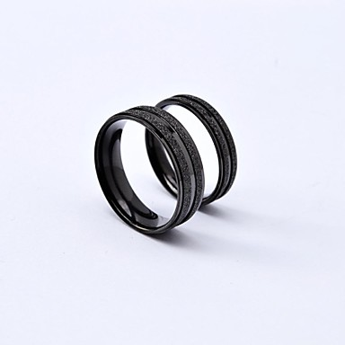 Men's Women's Couple Rings Black Silver Titanium Steel Round Classic Daily Casual Costume Jewelry