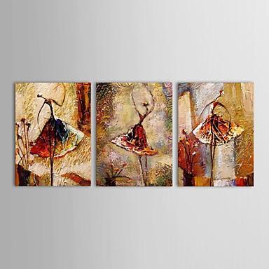 Ručně malované Lidé Horizontální Panoramic Tři panely Plátno Hang-malované olejomalba For Home dekorace