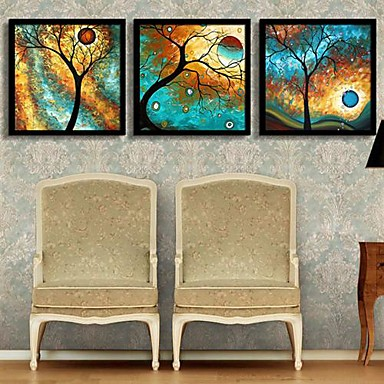Gerahmtes Leinenbild Gerahmtes Set Blumenmuster/Botanisch Wandkunst, PVC Stoff Mit Feld Haus Dekoration Rand Kunst Wohnzimmer