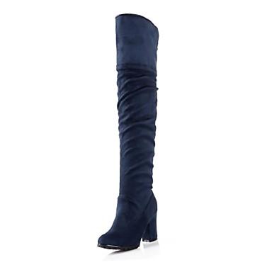 Ruskind-Modestøvler-Dame-Sort Blå-Formelt-Tyk hæl
