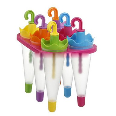 6 Cells Umbrella Ice Cream Tray Cube Mould Mold with Stick(Random Color) ,  Plastic 6.4