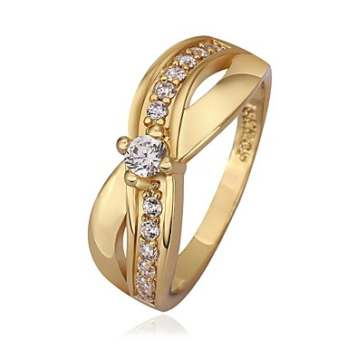 Woman's Sweet Charming Bowknot Zircon Gold Plated Ring (Gold / Gold-Pink)