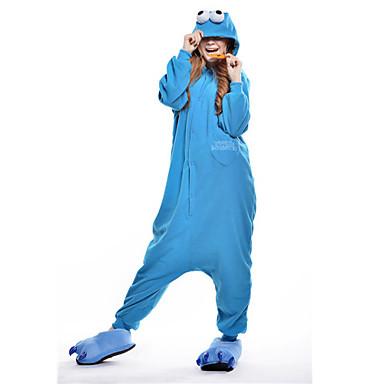 Pyžama Kigurumi Cookie Anime Monster Komiks Pyžamo Onesie Kostým polar fleece Modrá Cosplay Pro Animal Sleepwear Karikatura Halloween