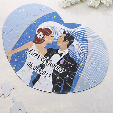 Kişiselleştirilmiş Kalp Şekilli Puzzle - Mutlu Düğün