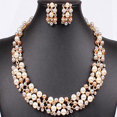 Women's Elegant Silver Imitation Pearl (Earrings&Necklaces) Wedding Jewelry Sets