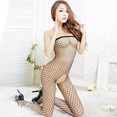 70945fc6b57 She s Love™ Woman s Open Crotch Mesh Fishnet Bodystocking Stocking Net  Garter Lingerie