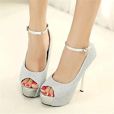 Sparkling Glitter Women's Wedding Stiletto Heel Peep Toe Pumps/Heels with Buckle Shoes (More Colors)