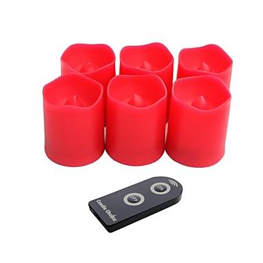 sæt med 6 røde farve plast førte offerfund stearinlys med fjernbetjening