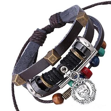 Pánské Wrap Náramky Kožené náramky Jedinečný design Módní Korálky Kožené Slitina Šperky Šperky Pro Denní
