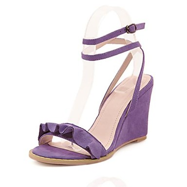 Women's Summer Dress Party & Evening Wedge Heel Ruched Pink Purple Red