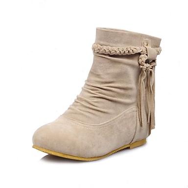 Для женщин Обувь Осень Зима На плоской подошве Ботинки С кисточками Назначение Для праздника Черный Коричневый Бежевый Желтый