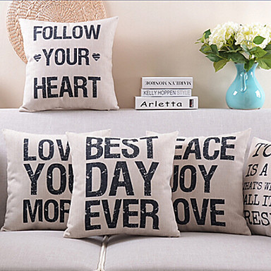5 pcs Cotton/Linen Pillow Cover, Quotes & Sayings Modern/Contemporary