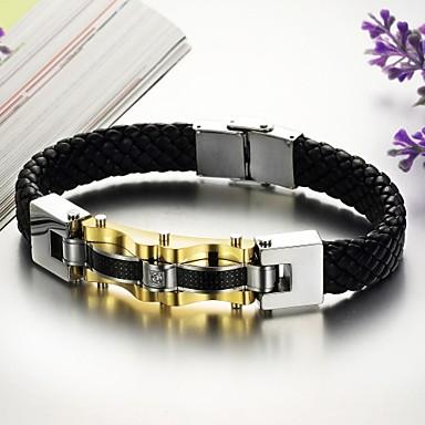 Heren Lederen armbanden Uniek ontwerp Modieus Leder Titanium Staal Sieraden Sieraden Voor Bruiloft Feest Dagelijks Causaal Kerstcadeaus