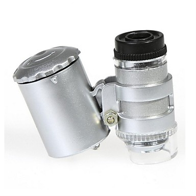 Mini 60X Microscope with 2-LED Illumination Currency Detecting UV Light for Iphone 4/4S (3*LR1130)