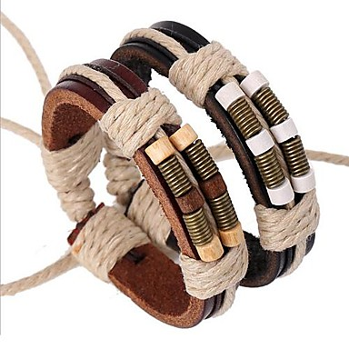 Men's Leather Bracelet Personalized Vintage Festival/Holiday Multi Layer Handmade Inspirational Leather Alloy Circle Jewelry Christmas