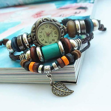 vrouwen vintage blad hanger stijl lederen handgemaakte weven band quartz analoog armband horloge