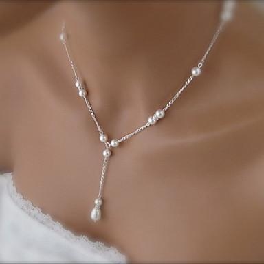 Damen Künstliche Perle Anhängerketten  -  Einfach Weiß 40+5cm Modische Halsketten Für Hochzeit Party Alltag