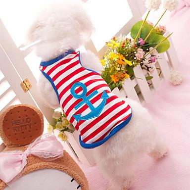 Hund T-shirt Hundekleidung Streifen Herz Rot Blau Baumwolle Kostüm Für Haustiere
