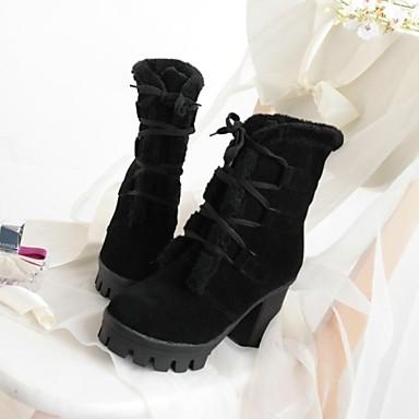 Habillé Fausse Bottes Daim Bottier Talon Lacet Fourrure Printemps Automne Chaussures Noir Hiver Faux 01957771 Rose Mi mollet Femme Plateau Pour a5BqPFw1