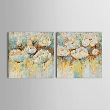 Handgeschilderde Bloemenmotief/Botanisch Twee panelen Canvas Hang-geschilderd olieverfschilderij For Huisdecoratie