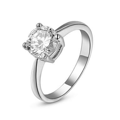 Damen Statement-Ring - Krystall, vergoldet, Diamantimitate 6 / 7 / 8 Silber / Golden Für Hochzeit / Party / Verlobung / Kubikzirkonia / Zirkon