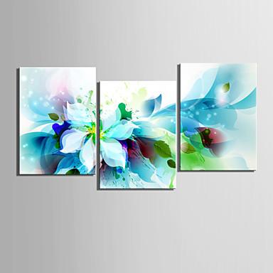 billige Trykk-Trykk Valset lerretskunst - Botanisk Blomstret / Botanisk Klassisk Realisme Tre Paneler Kunsttrykk