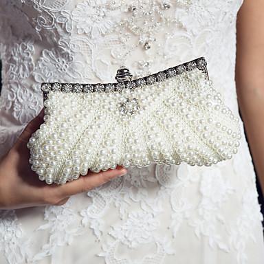 Dámské Tašky Satén Večerní kabelka Perličky Flitry Imitace perel pro Svatební Černá Růžová Křišťálový