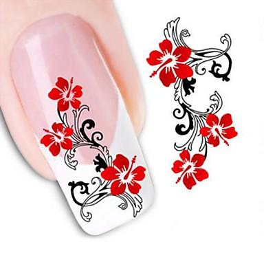 1 pcs 3D Negle Stickers Vandoverførings klistermærke Negle kunst Manicure Pedicure Blomst / Bryllup / Mode Daglig / 3D Nail Stickers