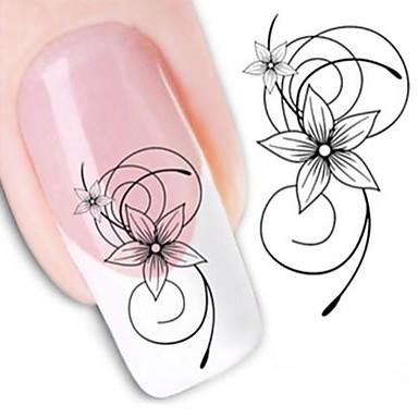 1 pcs Wasser Transfer Aufkleber / Nagel-Aufkleber Blume / Nagel-Aufkleber / Nagel-Kunst-DIY-Werkzeug-Zubehör Nagel-Kunst-Design