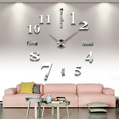 cheap Wall Clocks-Frameless Large DIY Wall Clock, Modern 3D Wall Clock with Mirror Numbers Stickers for Home Office Decorations Gift (Silver)